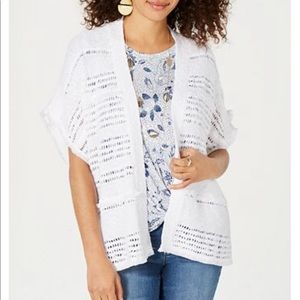 Style & Co Jackets & Coats - Style & Co white poncho styled cotton vest